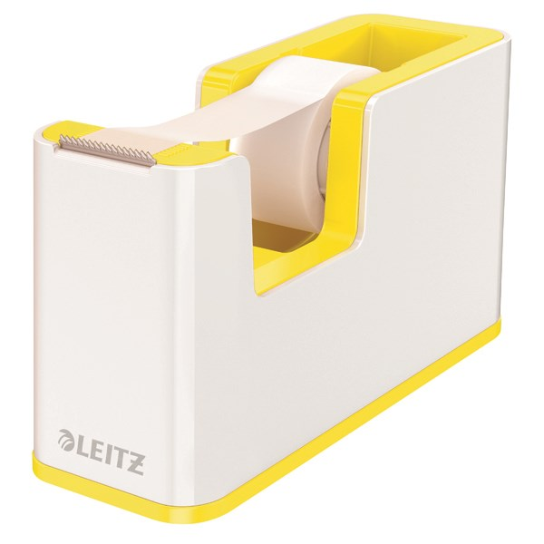 Leitz WOW Tape Dispenser Dual Colour White/Yellow 53641016 - LZ12212