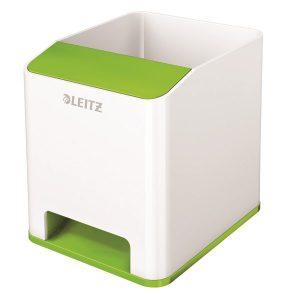 Leitz WOW Sound Pen Holder Dual Colour White/Green 53631054 - LZ12374