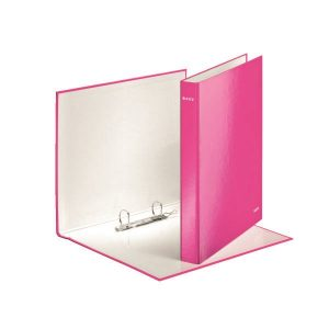 Leitz Wow 2 D-Ring Binder 25mm A4 Plus Pink (Pack of 10) 42410023 - LZ32865