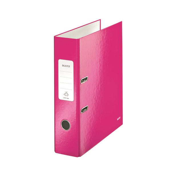 Leitz Wow 180 Lever Arch File 80mm A4 Pink (Pack of 10) 10050023 - LZ32995