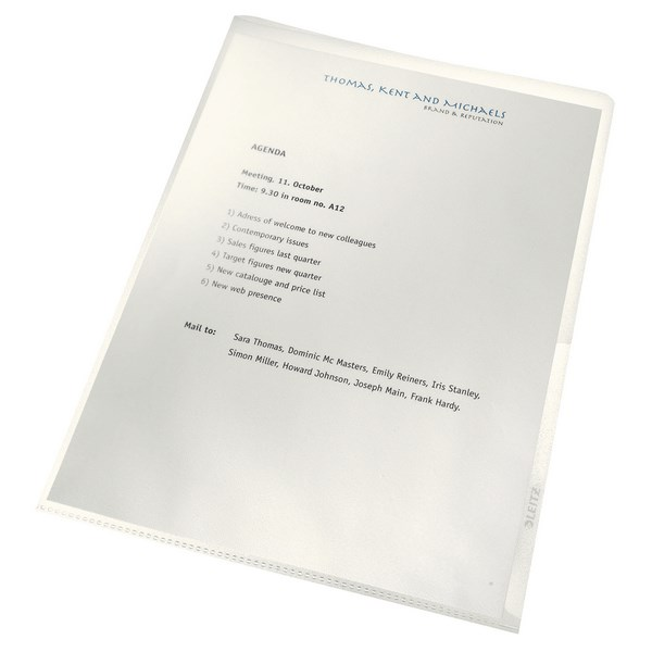 Leitz Recycled Cut Flush Folders A4 Clear (Pack of 100) 40011003 - LZ39719