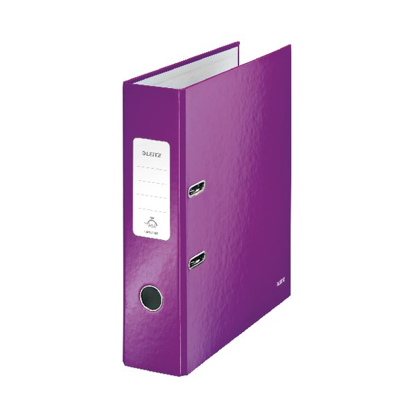 Leitz Wow 180 Lever Arch File 80mm A4 Purple (Pack of 10) 10050062 - LZ55702